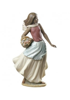 Nao by Lladro Porcelain Figurines from Youth Collection - Basket with Flowers