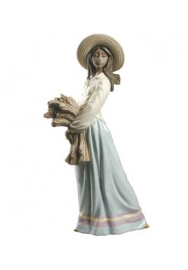 Nao by Lladro Porcelain Figurines from Youth Collection - Woman with Wheat