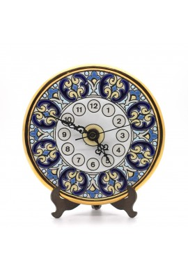 Decorative Spanish Ceramic Plates Handcrafted and Hand Painted in Spain - 14cm Handmade Ceramic Clock with Enamel & 24Kt Gold