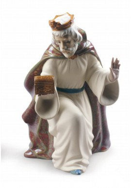 Nao Porcelain Figurines from the Religion Collection - King Melchior with Chest