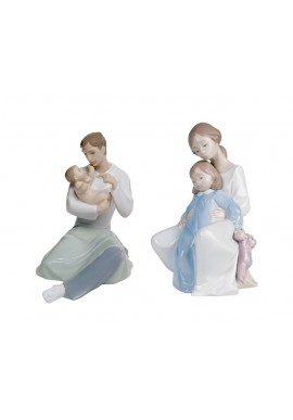 Decorative Nao Porcelain Figurines from the Family Collection - A Father's Love & A Moment with Mommy