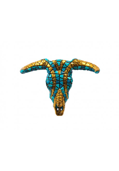 Blue and Gold Ram Head